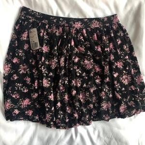Pink Floral Layered Mini Skirt